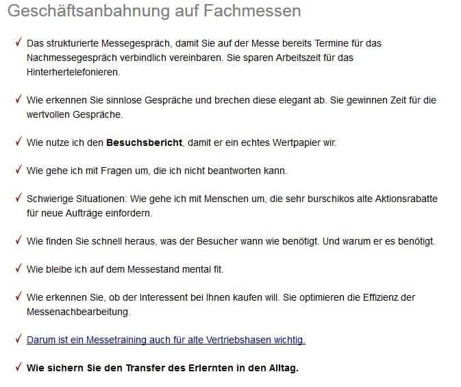 Augsburg Messetraining für Messeerfolg und Motivation